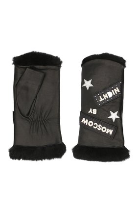 Женские кожаные митенки AGNELLE черного цвета, арт. M0SC0WBYNI | Фото 2