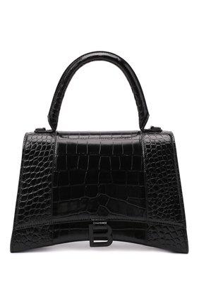 Женская сумка hourglass m BALENCIAGA черного цвета, арт. 619668/1LR67   Фото 1 (Материал: Натуральная кожа; Ремень/цепочка: На ремешке; Сумки-технические: Сумки top-handle, Сумки через плечо)