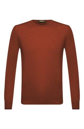 Мужской джемпер из кашемира и шелка ZILLI коричневого цвета, арт. MBU-RN010-NECL1/ML01 | Фото 1