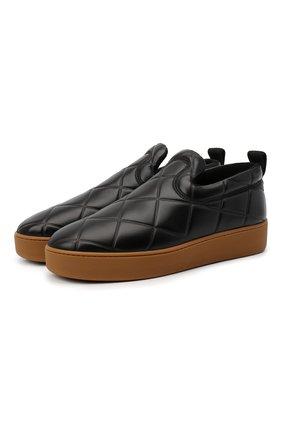 Мужские кожаные слипоны BOTTEGA VENETA черного цвета, арт. 639736/V02X0 | Фото 1 (Материал внутренний: Текстиль, Натуральная кожа; Стили: Кэжуэл)