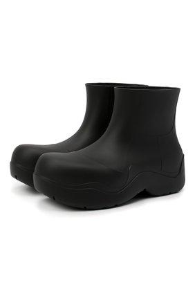 Мужские резиновые сапоги puddle BOTTEGA VENETA черного цвета, арт. 640043/V00P0 | Фото 1 (Материал внутренний: Натуральная кожа, Текстиль; Материал внешний: Экокожа; Мужское Кросс-КТ: Сапоги-обувь; Подошва: Плоская)