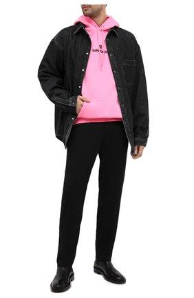 Мужской хлопковое худи BALENCIAGA розового цвета, арт. 570811/TJVE1   Фото 2