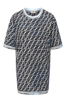 Женская хлопковая футболка FENDI синего цвета, арт. FS7242 AC6G | Фото 1