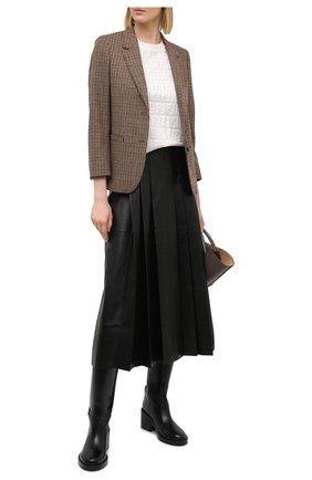Женский пуловер из хлопка и вискозы FENDI светло-бежевого цвета, арт. FZY934 ABWQ   Фото 2