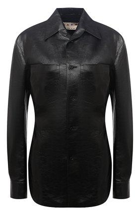 Женская кожаная рубашка MARNI черного цвета, арт. CAMX0342A0/LA730 | Фото 1