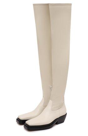 Женские кожаные ботфорты bv lean BOTTEGA VENETA кремвого цвета, арт. 639832/V00M1 | Фото 1