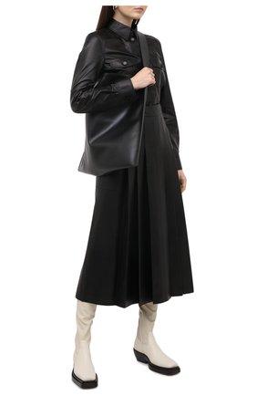 Женские кожаные ботфорты bv lean BOTTEGA VENETA кремвого цвета, арт. 639832/V00M1 | Фото 2
