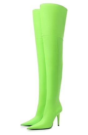 Женские кожаные ботфорты knife shark BALENCIAGA зеленого цвета, арт. 636613/WBBP0 | Фото 1