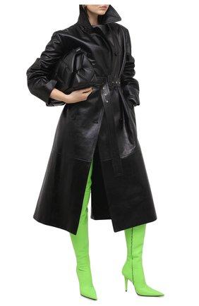 Женские кожаные ботфорты knife shark BALENCIAGA зеленого цвета, арт. 636613/WBBP0 | Фото 2