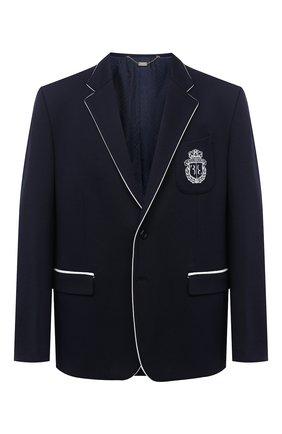 Мужской пиджак из вискозы и хлопка BILLIONAIRE темно-синего цвета, арт. W20C MRF1268 BTE004N   Фото 1