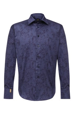 Мужская хлопковая рубашка BILLIONAIRE темно-синего цвета, арт. O20C MRP1391 BTE002N | Фото 1