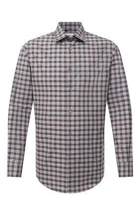 Мужская хлопковая рубашка BRIONI коричневого цвета, арт. SCCD0L/09023 | Фото 1