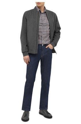 Мужская хлопковая рубашка BRIONI коричневого цвета, арт. SCCD0L/09023 | Фото 2