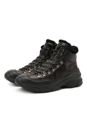 Мужские кожаные ботинки BOGNER черного цвета, арт. 103-9523/MEGEVE M 1A | Фото 1