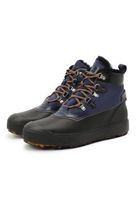 Мужские комбинированные ботинки SANTONI темно-синего цвета, арт. MBHI21406NEAPCBUU60 | Фото 1