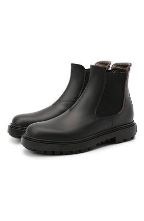 Мужские кожаные челси SANTONI черного цвета, арт. MGSM17340NNNKLUAN51 | Фото 1 (Материал внутренний: Текстиль, Натуральная кожа; Подошва: Массивная)
