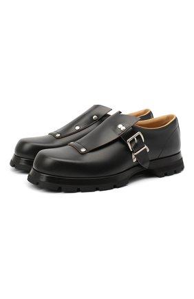 Мужские кожаные монки JIL SANDER черного цвета, арт. JI35503A-12232 | Фото 1