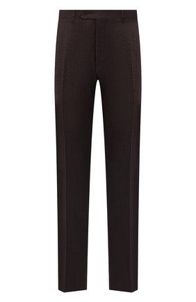 Мужские шерстяные брюки CANALI коричневого цвета, арт. 71019/AA02161   Фото 1 (Длина (брюки, джинсы): Стандартные; Материал внешний: Шерсть; Случай: Повседневный; Стили: Кэжуэл; Материал подклада: Вискоза)