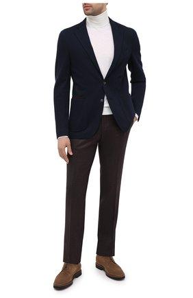 Мужские шерстяные брюки CANALI коричневого цвета, арт. 71019/AA02161   Фото 2 (Длина (брюки, джинсы): Стандартные; Материал внешний: Шерсть; Случай: Повседневный; Стили: Кэжуэл; Материал подклада: Вискоза)