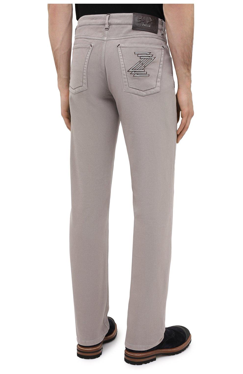 Мужские хлопковые брюки ZILLI бежевого цвета, арт. M0U-D0160-C0TE1/R001 | Фото 4