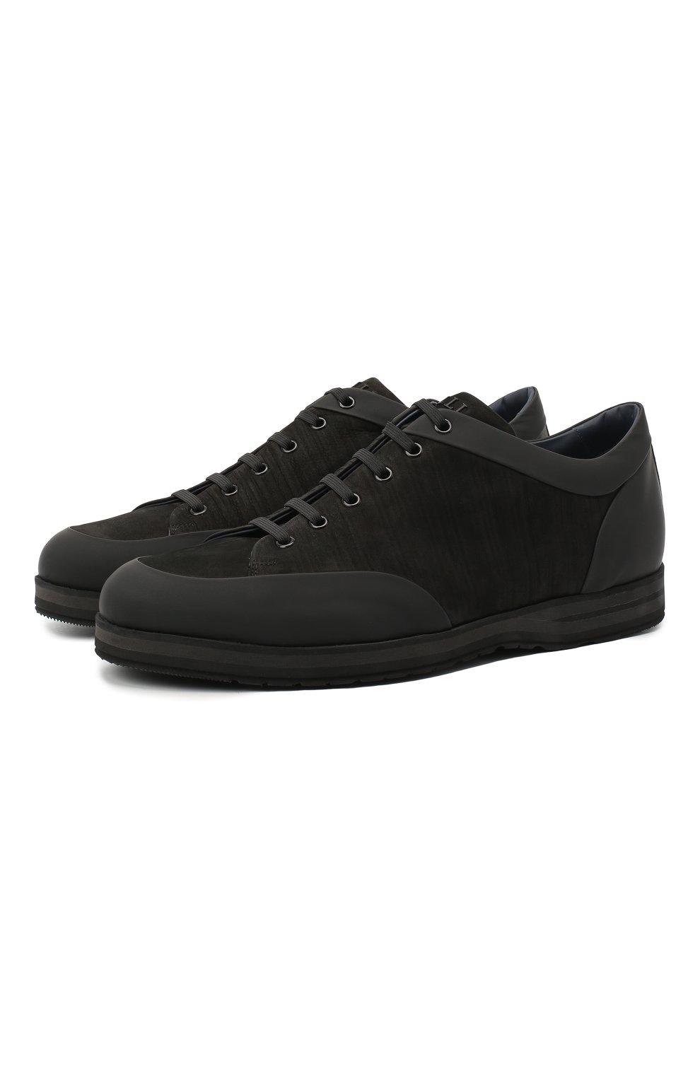 Мужские кожаные кроссовки ZILLI черного цвета, арт. MDU-T134/001 | Фото 1