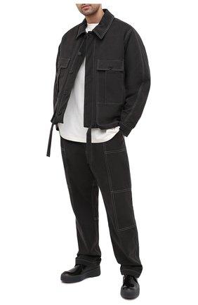 Мужские хлопковые брюки JACQUEMUS темно-серого цвета, арт. 206PA08/150930   Фото 2 (Длина (брюки, джинсы): Стандартные; Материал внешний: Хлопок; Материал подклада: Вискоза; Случай: Повседневный; Стили: Минимализм)