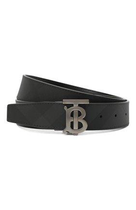 Мужской ремень BURBERRY темно-серого цвета, арт. 8033953 | Фото 1