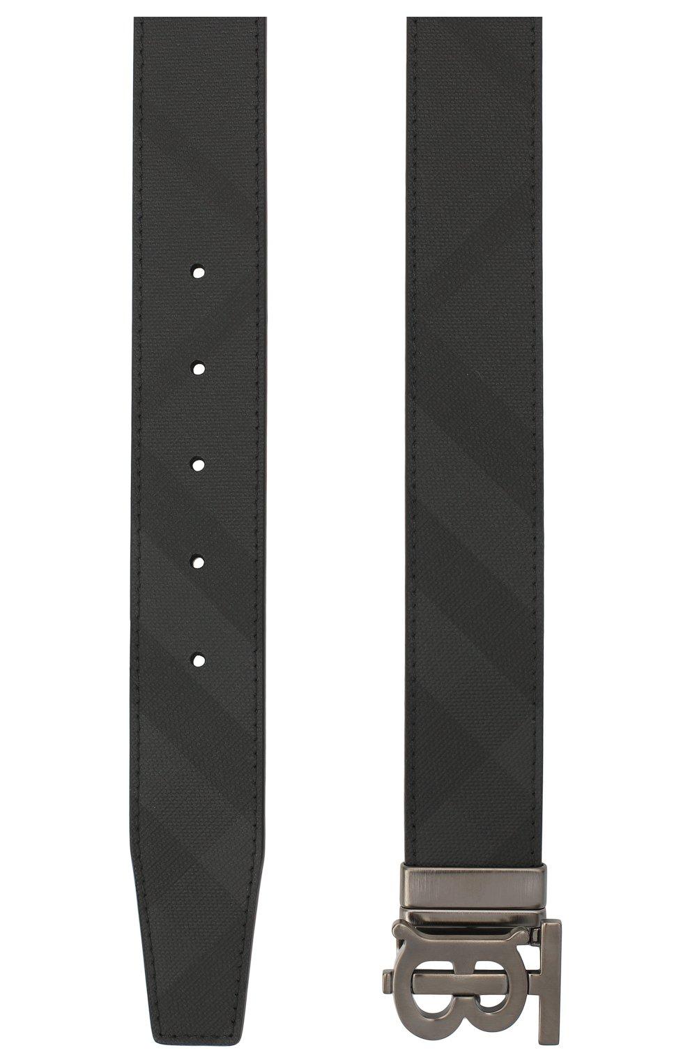 Мужской ремень BURBERRY темно-серого цвета, арт. 8033953 | Фото 2