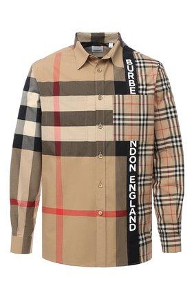 Мужская хлопковая рубашка BURBERRY бежевого цвета, арт. 8033101 | Фото 1