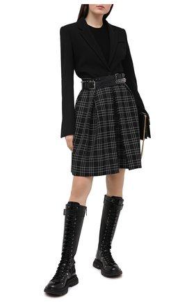 Женская шерстяная юбка ALEXANDER MCQUEEN черного цвета, арт. 639948/QJABX | Фото 2