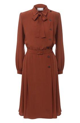 Женское шелковое платье MAISON MARGIELA светло-коричневого цвета, арт. S29CT0977/S53462   Фото 1