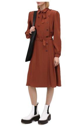 Женское шелковое платье MAISON MARGIELA светло-коричневого цвета, арт. S29CT0977/S53462   Фото 2