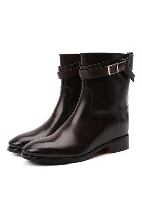 Женские кожаные ботинки SANTONI коричневого цвета, арт. WTNH58991BJ2NLESS61 | Фото 1