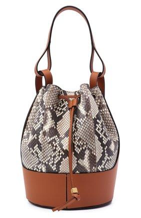 Женская сумка balloon из кожи питона LOEWE коричневого цвета, арт. A710AC3X48/PRET | Фото 1