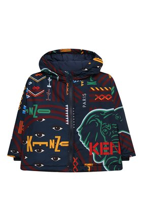 Детская куртка с капюшоном KENZO темно-синего цвета, арт. KR42517 | Фото 1