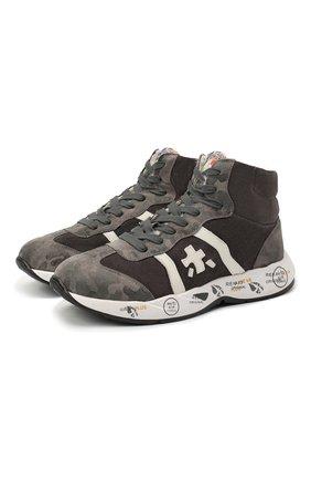 Детские высокие кроссовки из кожи PREMIATA WILL BE серого цвета, арт. ARTHUR-M/11-181493-M/JUN/39 | Фото 1 (Материал утеплителя: Натуральный мех; Стили: Гранж)