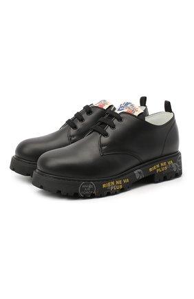Детские кожаные туфли PREMIATA WILL BE черного цвета, арт. G0-URBAN/11-221470/JUN | Фото 1 (Материал внутренний: Натуральная кожа)