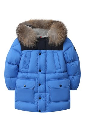 Детского пуховая куртка MONCLER синего цвета, арт. F2-951-1C504-22-53333 | Фото 1