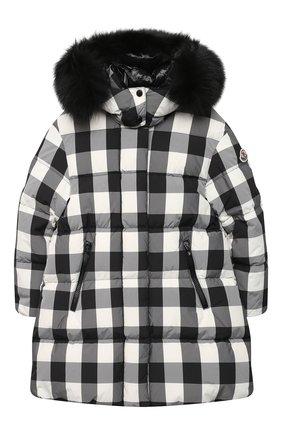Детское пуховое пальто MONCLER черно-белого цвета, арт. F2-954-1C511-12-539YJ/4-6A | Фото 1