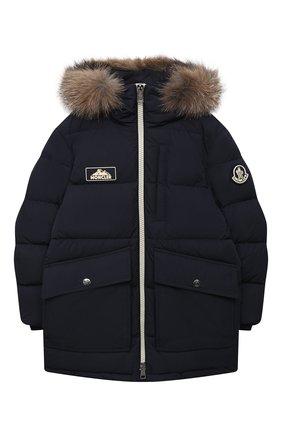 Детского пуховое пальто MONCLER темно-синего цвета, арт. F2-954-1C525-21-54A91/8-10A | Фото 1