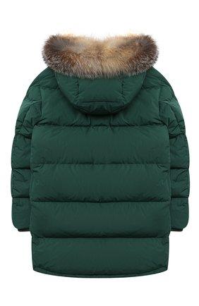 Детского пуховое пальто MONCLER темно-зеленого цвета, арт. F2-954-1C525-21-54A91/8-10A | Фото 2