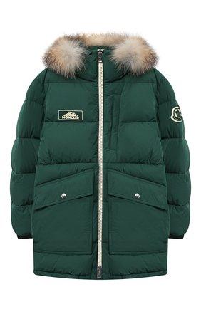 Детского пуховое пальто MONCLER темно-зеленого цвета, арт. F2-954-1C525-21-54A91/12-14A | Фото 1