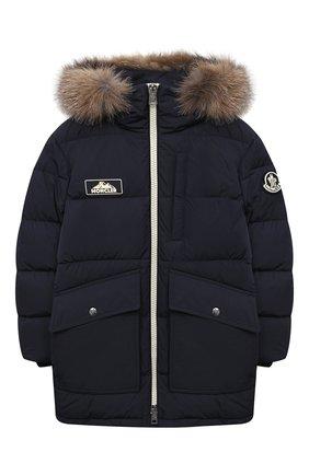 Детского пуховое пальто MONCLER темно-синего цвета, арт. F2-954-1C525-21-54A91/4-6A | Фото 1