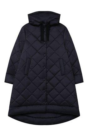 Детское стеганое пальто IL GUFO темно-синего цвета, арт. A20GP261N0068/10A-12A | Фото 1