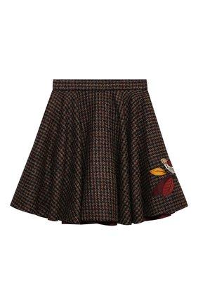 Детская шерстяная юбка DOLCE & GABBANA коричневого цвета, арт. L53I73/FQMH3/8-14 | Фото 1