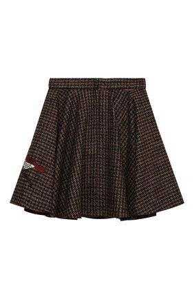 Детская шерстяная юбка DOLCE & GABBANA коричневого цвета, арт. L53I73/FQMH3/8-14 | Фото 2