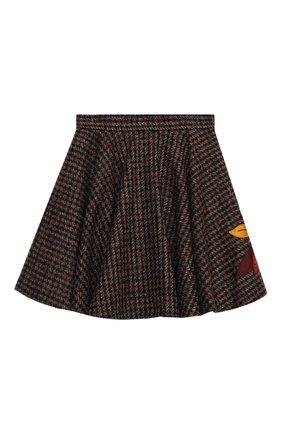 Детская шерстяная юбка DOLCE & GABBANA коричневого цвета, арт. L53I73/FQMH3/2-6 | Фото 1
