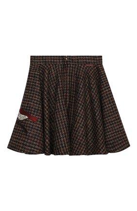 Детская шерстяная юбка DOLCE & GABBANA коричневого цвета, арт. L53I73/FQMH3/2-6 | Фото 2