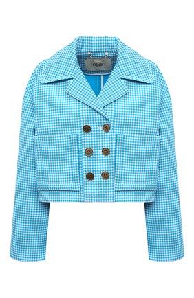 Женский шерстяной жакет FENDI синего цвета, арт. FJ7095 AC6R | Фото 1