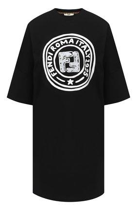 Женская хлопковая футболка FENDI черного цвета, арт. FS7307 AC6E | Фото 1